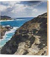 Halona Blowhole Lookout- Oahu Hawaii V2 Wood Print