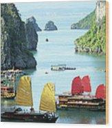 Halong Bay Sails 01 Wood Print