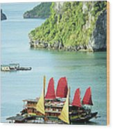 Halong Bay Sails 02 Wood Print