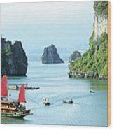 Halong Bay Sails 03 Wood Print