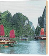 Halong Bay Sails 04 Wood Print
