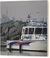 Halton Police Boat And Cn Tower Wood Print