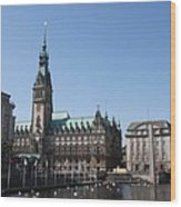 Hamburg - City Hall With Fleet - Germany Wood Print