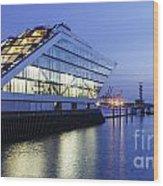 Hamburg Dockland At Night Wood Print