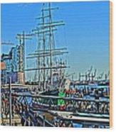 Hamburg Germany Sail Boat With Elbphilharmonie Wood Print