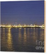 Hamburg Harbor Skyline Wood Print