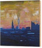 Hamburg Skyline At Dusk With Elbe Philharmonic Hall Wood Print