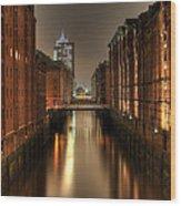 Hamburg Speicherstadt Bei Nacht Wood Print