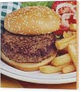 Hamburger & French Fries Wood Print
