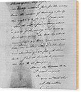Hamilton: Letter, 1777 Wood Print