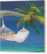 Hammock Palm And Ocean Wood Print