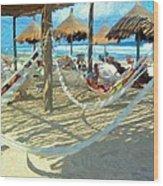 Hammocks And Palapas - Xel-ha Mexico Wood Print