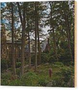 Hammonds Castle Yard Wood Print