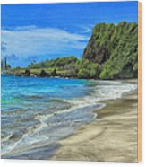 Hamoa Beach At Hana Maui Wood Print