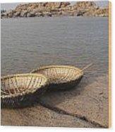 Hampi River Scenes Wood Print