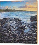 Hana Bay Sunrise Wood Print by Inge Johnsson