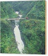 Hana Highway Waterfall Maui Hawaii Wood Print