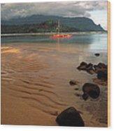 Hanalei Bay At Dawn Wood Print by Kathy Yates