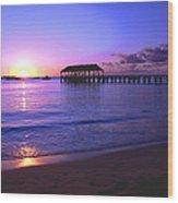 Hanalei Bay Pier Sunset Wood Print by Brian Harig