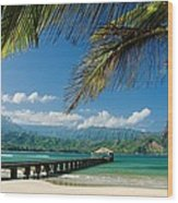 Hanalei Pier And Beach Wood Print
