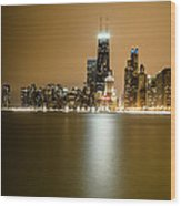 Hancock Building Reflection From North Ave Beach Wood Print