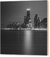 Hancock Building Reflection From North Ave Beach - Black And White Wood Print