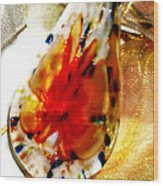 Hand Blown Glass Pendant Wood Print by Judy Paleologos