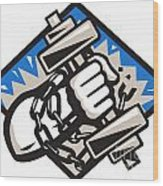 Hand Bursting With Dumbbell In Chains Wood Print