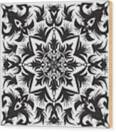 Hand Drawing Pattern For Tile In Black Wood Print