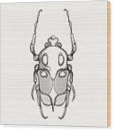 Hand Drawn Engraving Sketch Scarab Wood Print