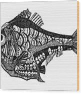 Hand Drawn Vector Illustration. Retro Wood Print