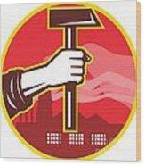 Hand Holding Hammer Factory Retro Wood Print