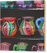 Hand Painted Ceramics Playa Del Carmen Mexico Wood Print