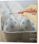 Hand Painted Easter Eggs Wood Print