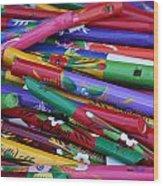 Hand Painted Wooden Flutes Playa Del Carmen Mexico Wood Print
