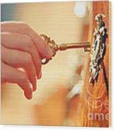 Hand With Key Wood Print by Konstantin Sutyagin