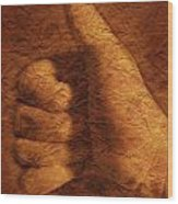 Hand With Thumbs Up Sign Wood Print