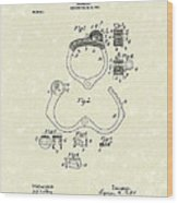 Handcuff 1899 Patent Art Wood Print