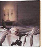 Handcuffs And A Rose On Bed Wood Print