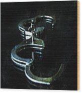 Handcuffs On Black Wood Print by Jill Battaglia
