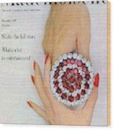Hands Holding A Coro Rhinestone Pin Wood Print