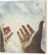 Hands In Sky Wood Print