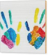 Hands Painted Stamped On Paper Wood Print