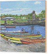 Hanga Roa Harbour Wood Print