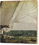 Hanged On Wind In A Mediterranean Vintage Tall Ship Race  Wood Print