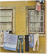 Hanging Clothes Of Old Europe II Wood Print