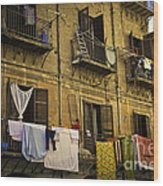 Hanging Out To Dry In Palermo  Wood Print