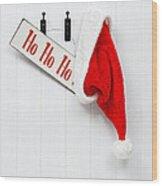 Hanging Santa Hat And Sign Wood Print by Amanda Elwell