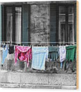 Hanging The Wash In Venice Italy Wood Print