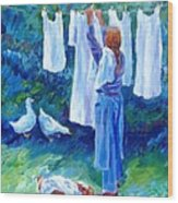 Hanging The Whites  Wood Print by Trudi Doyle